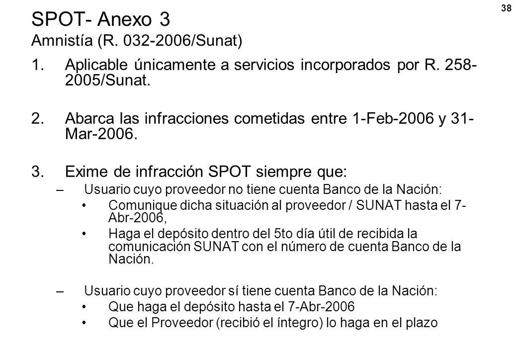38 SPOT- Anexo 3 Amnistía (R. 032-2006/Sunat) 1.Aplicable únicamente a servicios incorporados por R. 258- 2005/Sunat. 2.Abarca las infracciones cometi