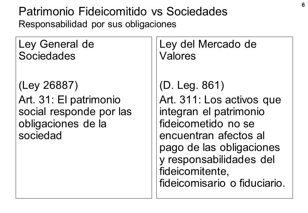 6 Patrimonio Fideicomitido vs Sociedades Responsabilidad por sus obligaciones Ley General de Sociedades (Ley 26887) Art. 31: El patrimonio social resp