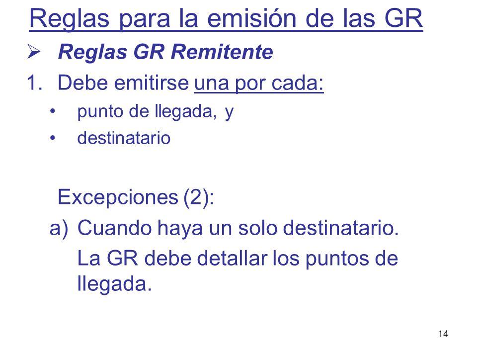 14 Reglas para la emisión de las GR Reglas GR Remitente 1.Debe emitirse una por cada: punto de llegada, y destinatario Excepciones (2): a)Cuando haya
