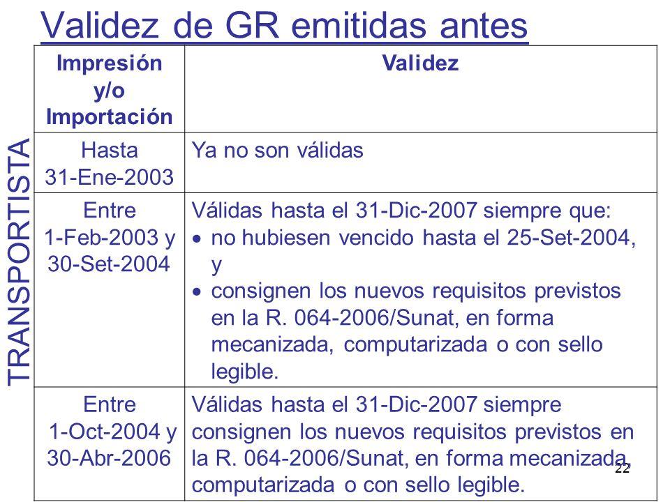 22 Validez de GR emitidas antes Impresión y/o Importación Validez Hasta 31-Ene-2003 Ya no son válidas Entre 1-Feb-2003 y 30-Set-2004 Válidas hasta el