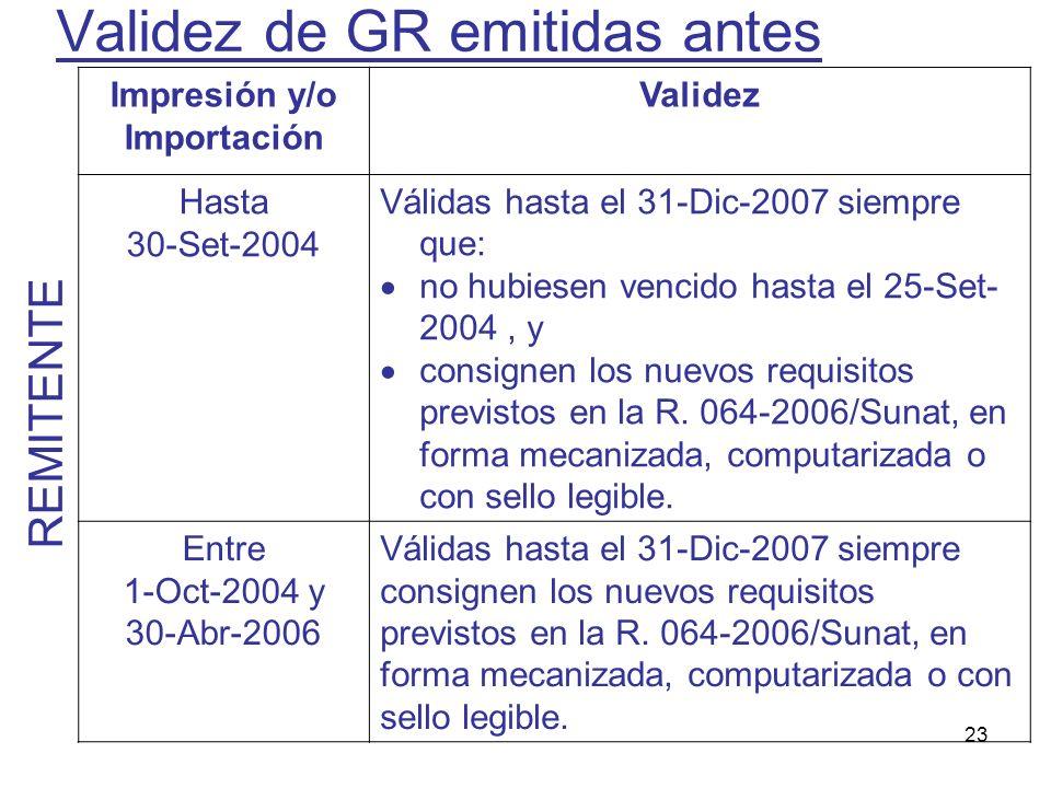 23 Validez de GR emitidas antes Impresión y/o Importación Validez Hasta 30-Set-2004 Válidas hasta el 31-Dic-2007 siempre que: no hubiesen vencido hast