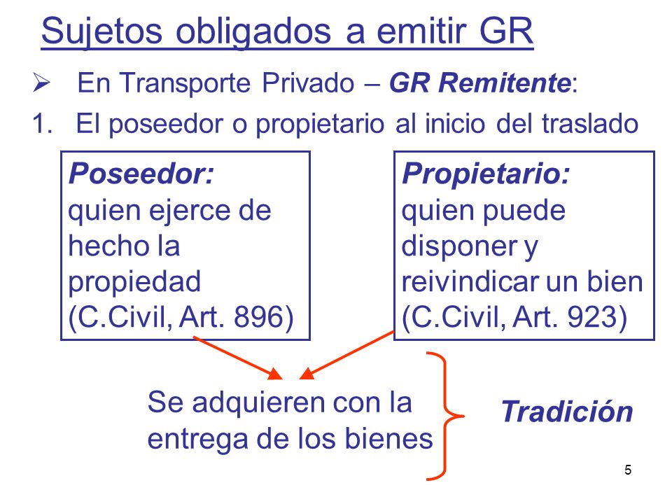5 Sujetos obligados a emitir GR En Transporte Privado – GR Remitente: 1.El poseedor o propietario al inicio del traslado Poseedor: quien ejerce de hec