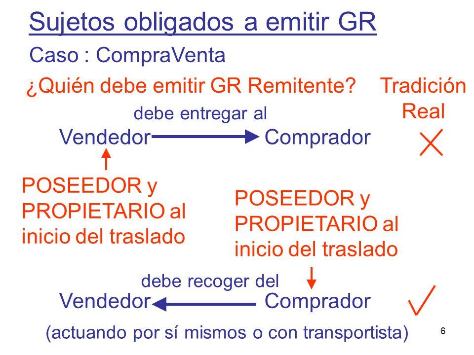 6 Sujetos obligados a emitir GR VendedorComprador debe entregar al VendedorComprador POSEEDOR y PROPIETARIO al inicio del traslado debe recoger del Tr