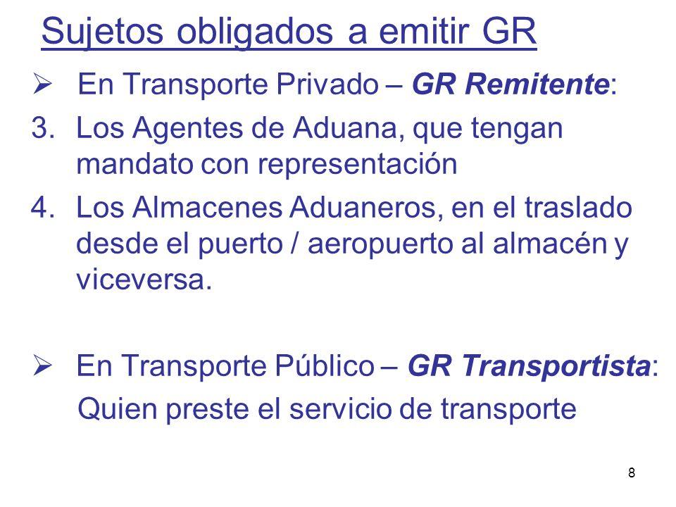 8 Sujetos obligados a emitir GR En Transporte Privado – GR Remitente: 3.Los Agentes de Aduana, que tengan mandato con representación 4.Los Almacenes A