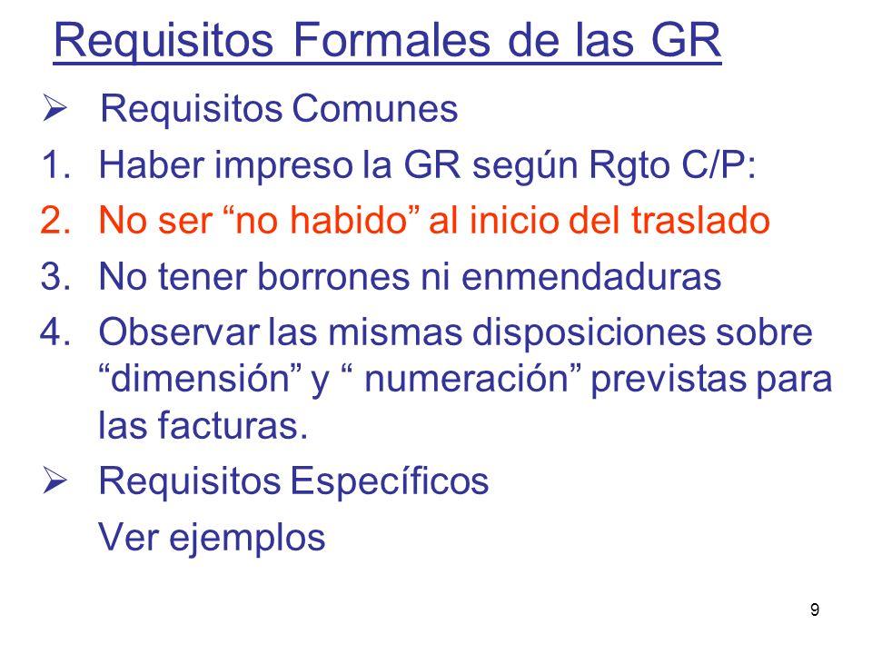 9 Requisitos Formales de las GR Requisitos Comunes 1.Haber impreso la GR según Rgto C/P: 2.No ser no habido al inicio del traslado 3.No tener borrones