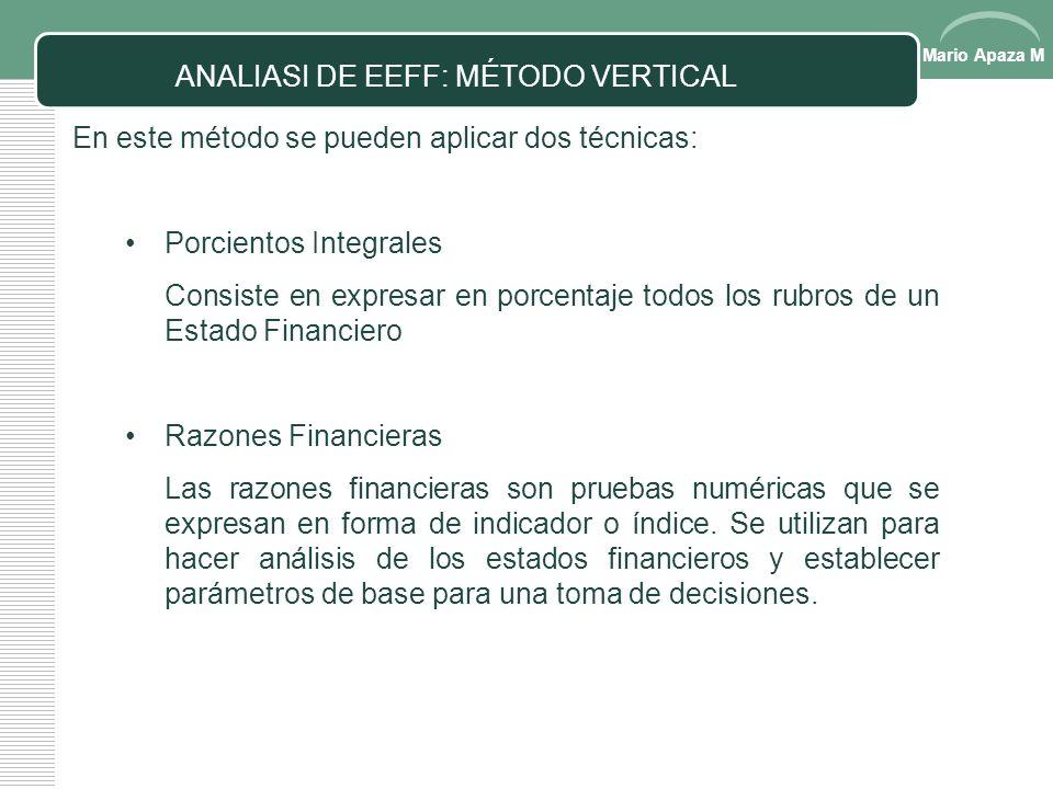 Mario Apaza M Consiste en determinar variaciones al comparar el mismo rubro de los estados financieros en dos ejercicios diferentes pero reconociendo