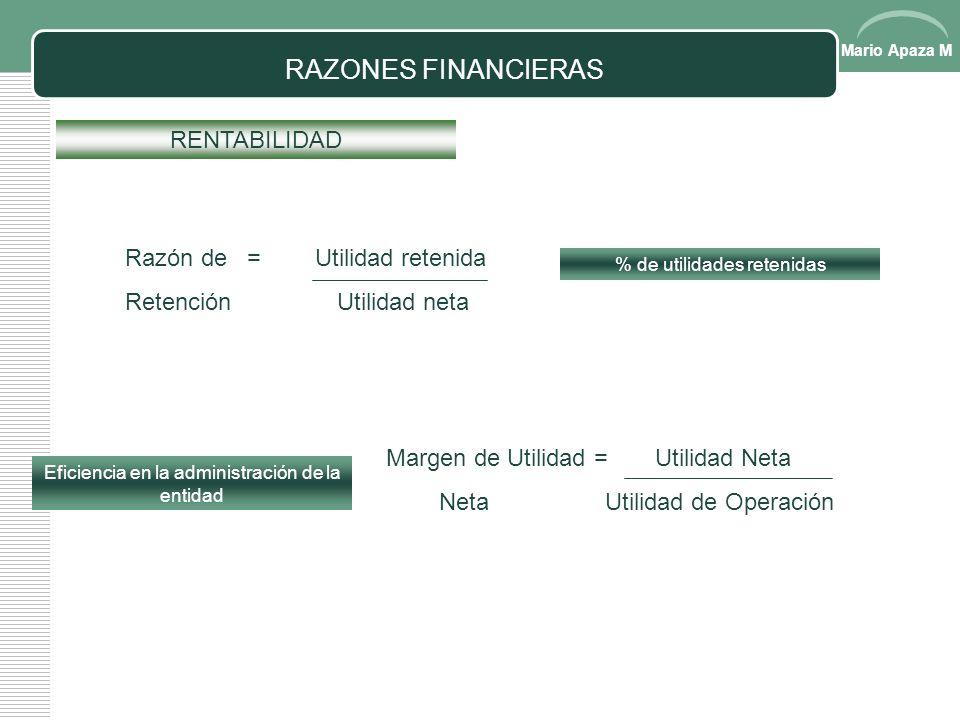 Mario Apaza M RAZONES FINANCIERAS RENTABILIDAD ROE = Utilidad neta Patrimonio neto Rendimiento sobre = Utilidad Neta Activos Activos Totales Razón pag