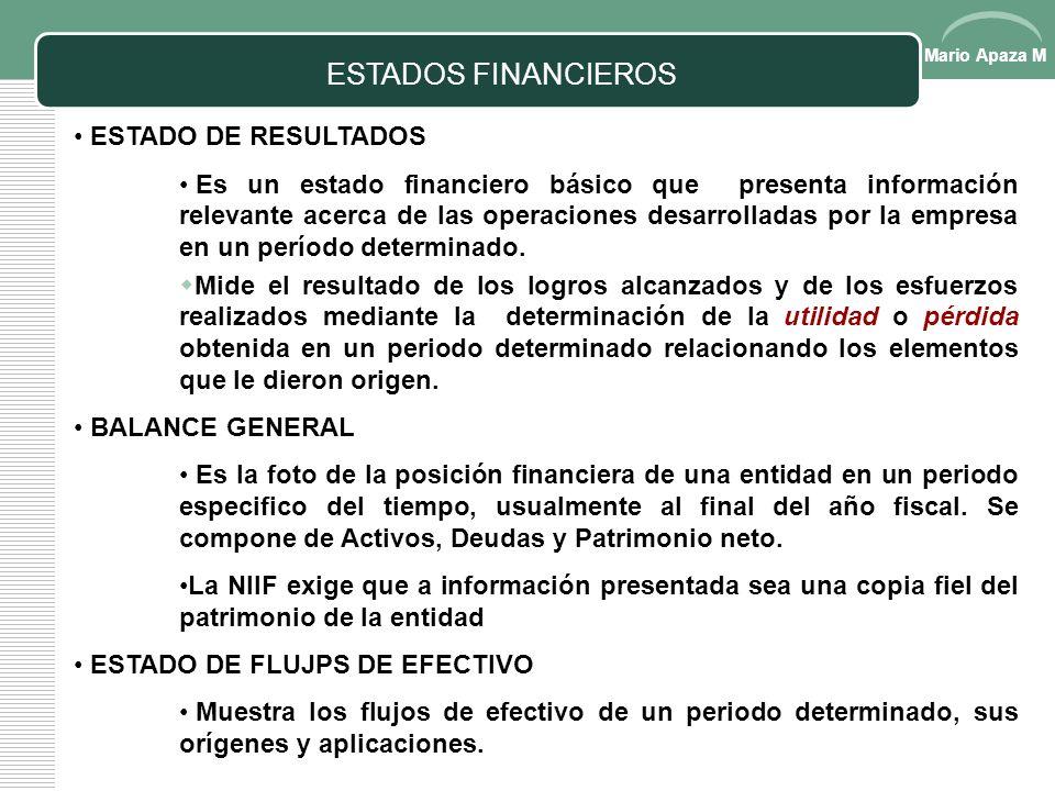 Mario Apaza M ESTADOS FINANCIEROS Documentos a través de las cuales podemos apreciar el Desempeño y Salud Financiera de la Empresa de manera Sumarizad