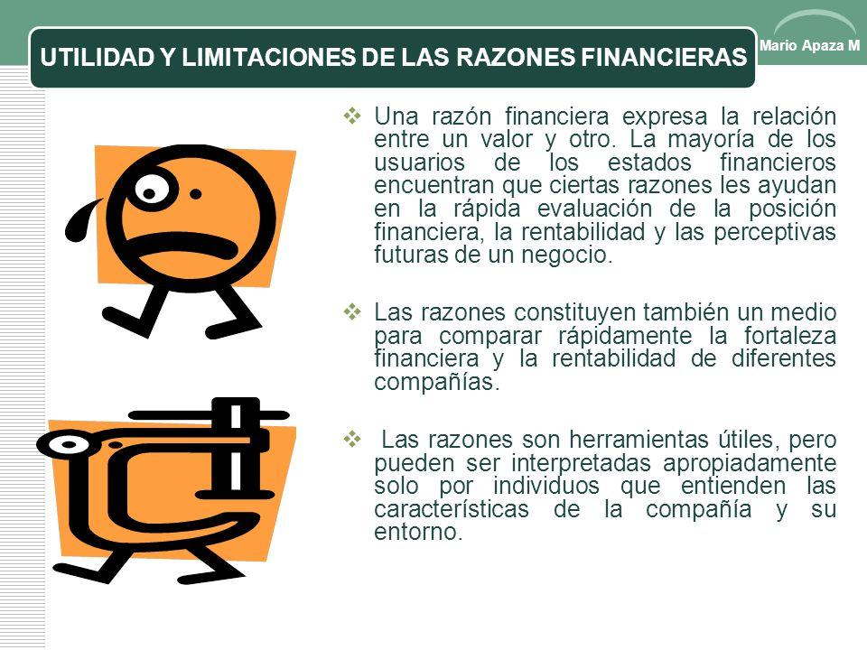 Mario Apaza M ANÁLISIS FINANCIEROS, CONT… Un balance clasificado En un balance clasificado, generalmente los activos son presentados en tres grupos (1
