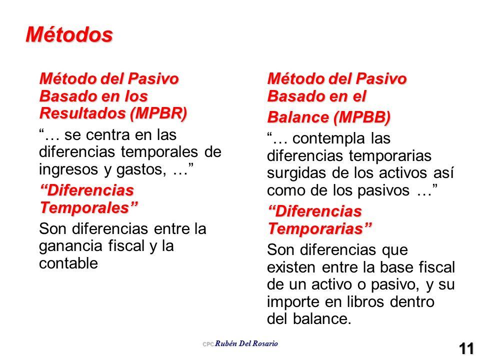 CPC Rubén Del Rosario 11 Métodos Método del Pasivo Basado en los Resultados (MPBR) … se centra en las diferencias temporales de ingresos y gastos, … D