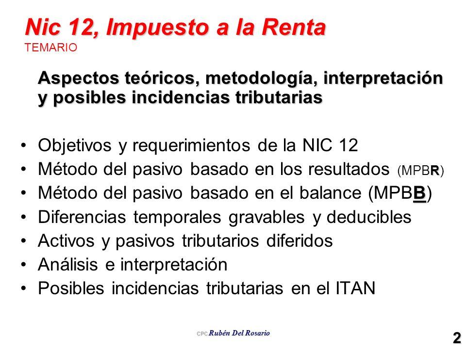 CPC Rubén Del Rosario 2 Nic 12, Impuesto a la Renta Nic 12, Impuesto a la Renta TEMARIO Aspectos teóricos, metodología, interpretación y posibles inci