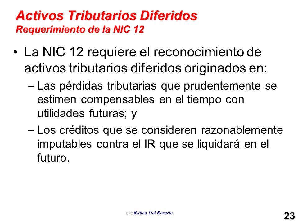 CPC Rubén Del Rosario 23 Activos Tributarios Diferidos Requerimiento de la NIC 12 La NIC 12 requiere el reconocimiento de activos tributarios diferido