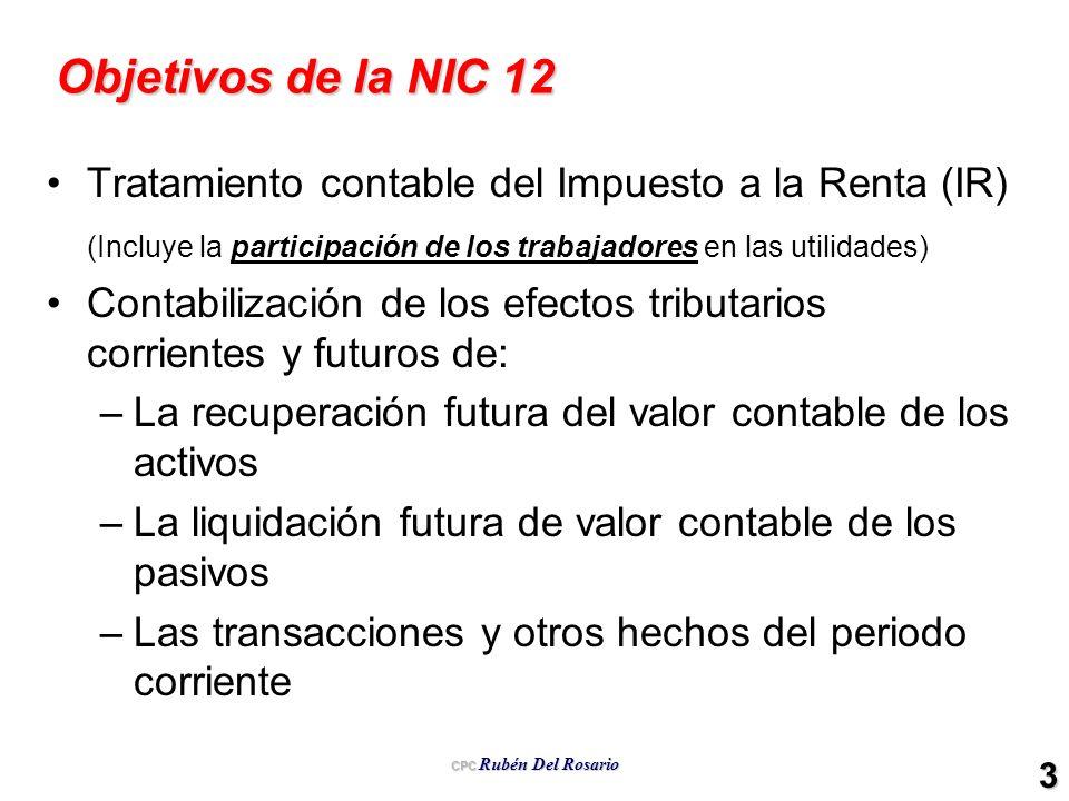 CPC Rubén Del Rosario 3 Objetivos de la NIC 12 Tratamiento contable del Impuesto a la Renta (IR) (Incluye la participación de los trabajadores en las