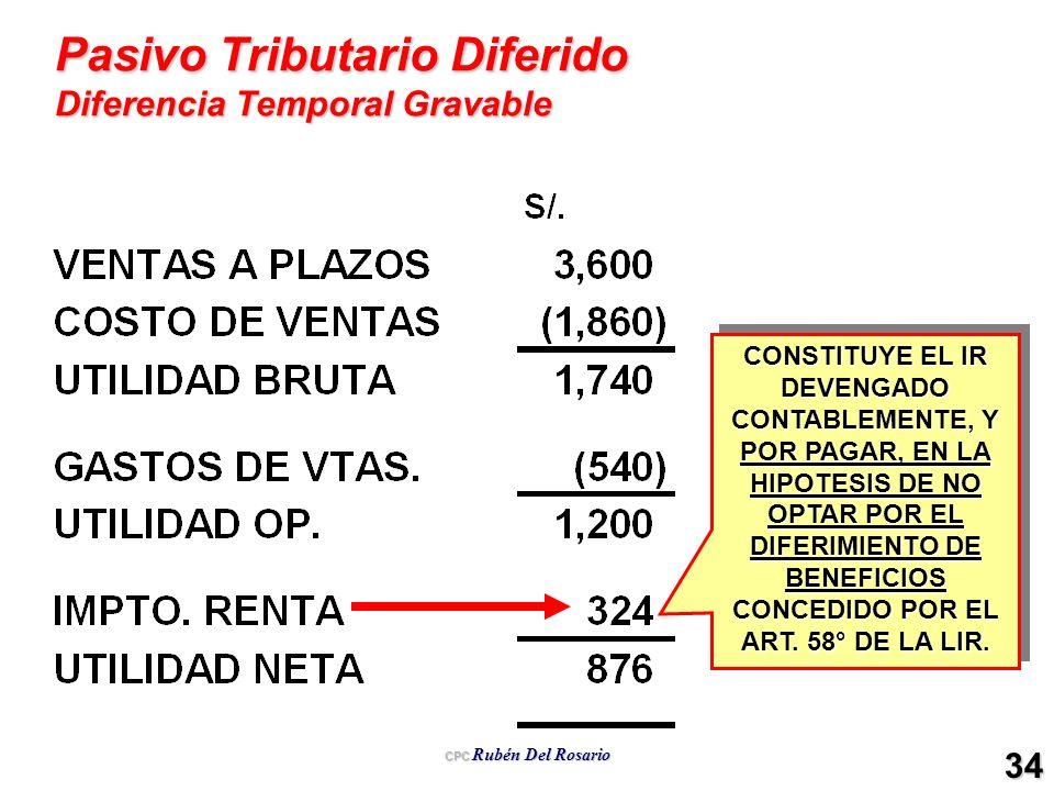 CPC Rubén Del Rosario 34 Pasivo Tributario Diferido Diferencia Temporal Gravable CONSTITUYE EL IR DEVENGADO CONTABLEMENTE, Y POR PAGAR, EN LA HIPOTESI