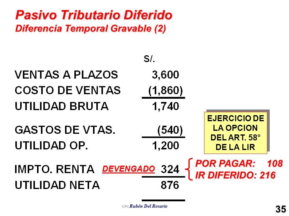 CPC Rubén Del Rosario 35 Pasivo Tributario Diferido Diferencia Temporal Gravable (2) DEVENGADO POR PAGAR: 108 IR DIFERIDO: 216 EJERCICIO DE LA OPCION
