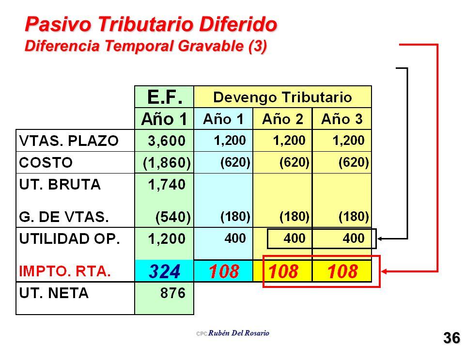 CPC Rubén Del Rosario 36 Pasivo Tributario Diferido Diferencia Temporal Gravable (3)