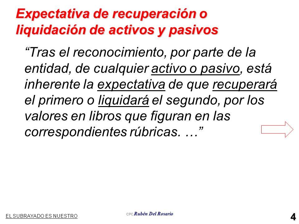 CPC Rubén Del Rosario 4 Expectativa de recuperación o liquidación de activos y pasivos Tras el reconocimiento, por parte de la entidad, de cualquier a