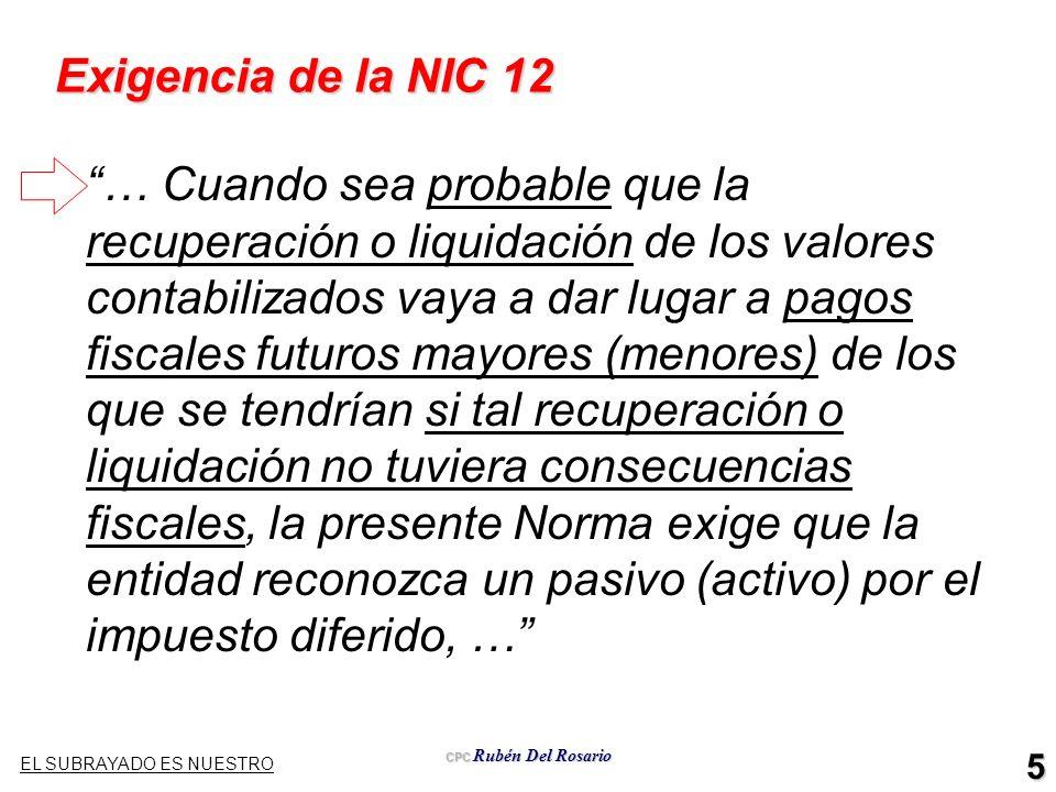 CPC Rubén Del Rosario 5 Exigencia de la NIC 12 … Cuando sea probable que la recuperación o liquidación de los valores contabilizados vaya a dar lugar