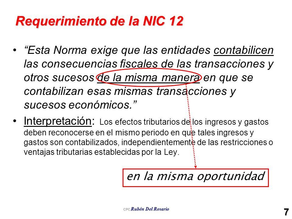 CPC Rubén Del Rosario 7 Requerimiento de la NIC 12 Esta Norma exige que las entidades contabilicen las consecuencias fiscales de las transacciones y o