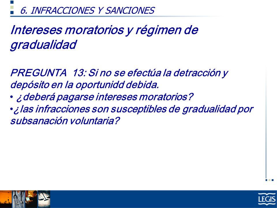 Intereses moratorios y régimen de gradualidad PREGUNTA 13: Si no se efectúa la detracción y depósito en la oportunidd debida. ¿deberá pagarse interese