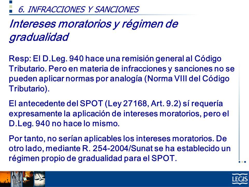 Intereses moratorios y régimen de gradualidad Resp: El D.Leg. 940 hace una remisión general al Código Tributario. Pero en materia de infracciones y sa
