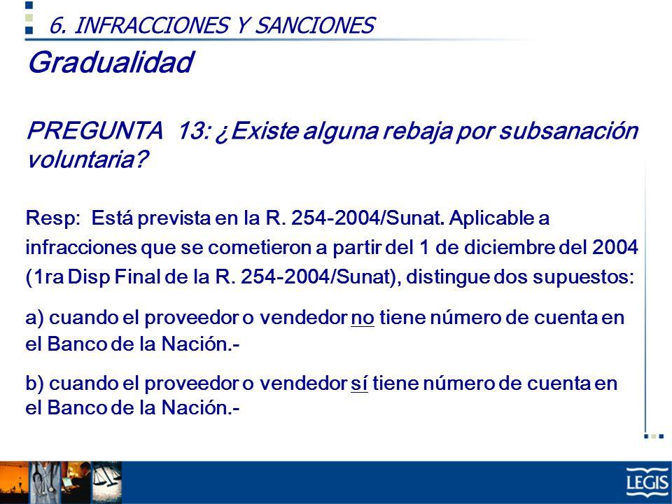 Gradualidad PREGUNTA 13: ¿Existe alguna rebaja por subsanación voluntaria? Resp: Está prevista en la R. 254-2004/Sunat. Aplicable a infracciones que s