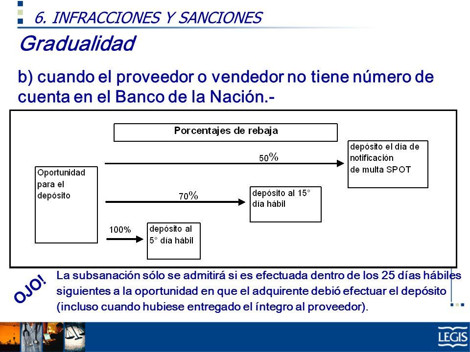 Gradualidad b) cuando el proveedor o vendedor no tiene número de cuenta en el Banco de la Nación.- 6.
