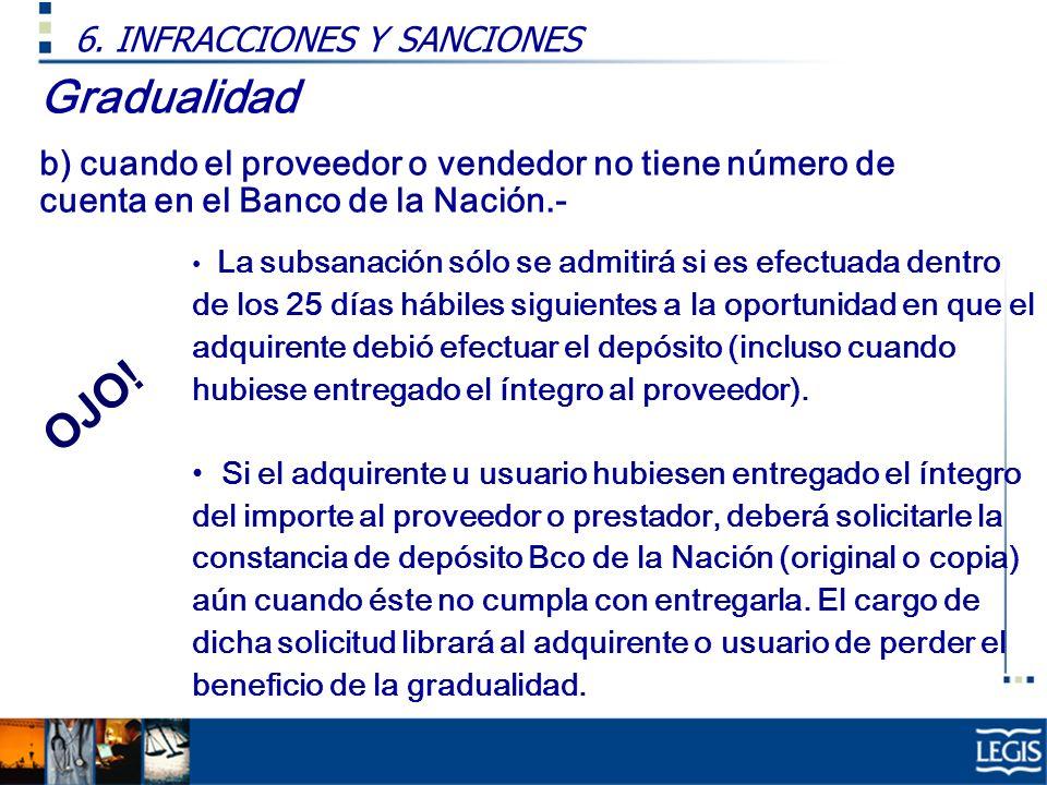 Gradualidad b) cuando el proveedor o vendedor no tiene número de cuenta en el Banco de la Nación.- 6. INFRACCIONES Y SANCIONES La subsanación sólo se