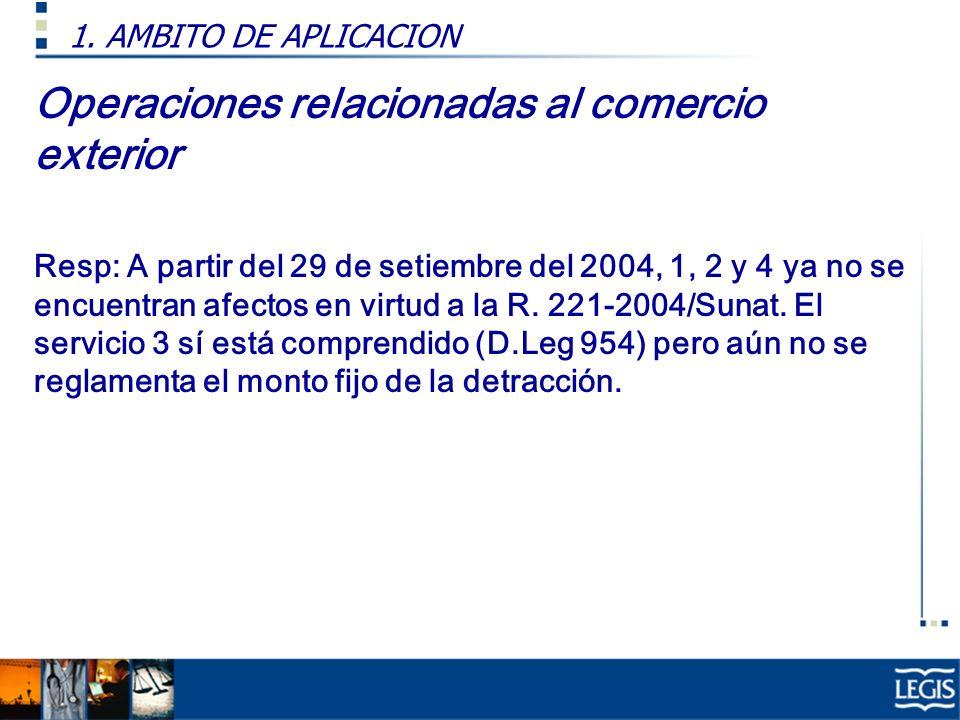 Operaciones relacionadas al comercio exterior Resp: A partir del 29 de setiembre del 2004, 1, 2 y 4 ya no se encuentran afectos en virtud a la R. 221-