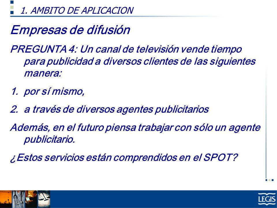 Empresas de difusión Resp: A partir del 29 de setiembre del 2004, la venta de tiempo en medios de difusión ya no se encuentra afecta al SPOT en virtud a la R.