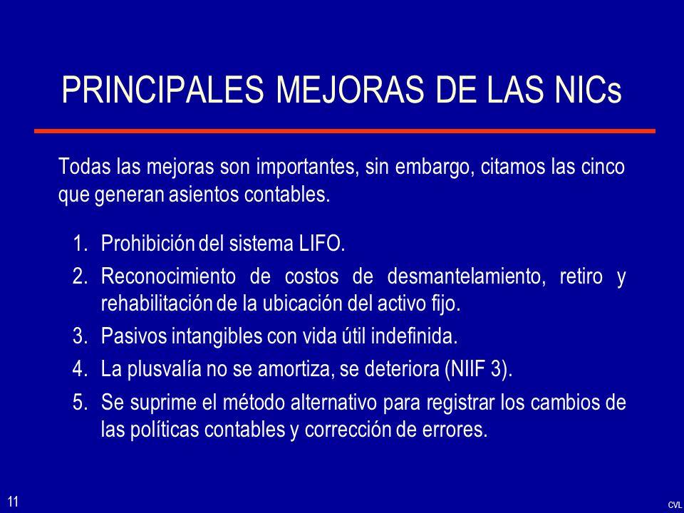 CVL 11 PRINCIPALES MEJORAS DE LAS NICs Todas las mejoras son importantes, sin embargo, citamos las cinco que generan asientos contables. 1.Prohibición