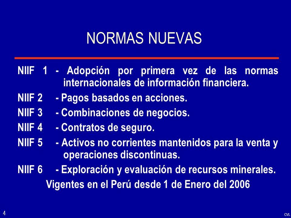 CVL 4 NORMAS NUEVAS NIIF 1 - Adopción por primera vez de las normas internacionales de información financiera. NIIF 2 - Pagos basados en acciones. NII