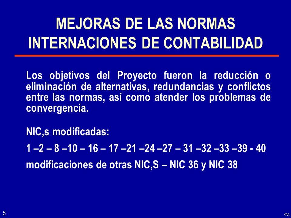 CVL 6 RETIRO DE NORMAS A partir de la vigencia de las NIIF y las NICs, mejoradas, en el Perú se ha retirado las siguientes normas: NIC 15 – información para reflejar los efectos de los cambios en los precios.
