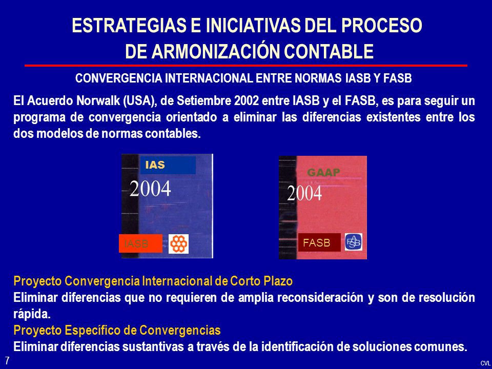 CVL 7 ESTRATEGIAS E INICIATIVAS DEL PROCESO DE ARMONIZACIÓN CONTABLE CONVERGENCIA INTERNACIONAL ENTRE NORMAS IASB Y FASB El Acuerdo Norwalk (USA), de