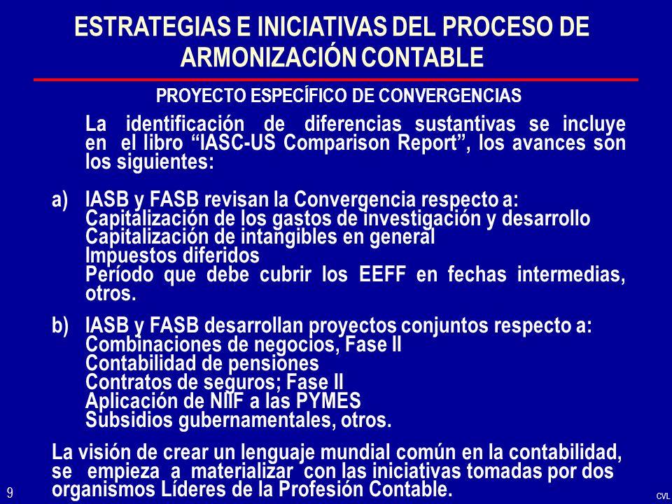 CVL 9 ESTRATEGIAS E INICIATIVAS DEL PROCESO DE ARMONIZACIÓN CONTABLE PROYECTO ESPECÍFICO DE CONVERGENCIAS La identificación de diferencias sustantivas