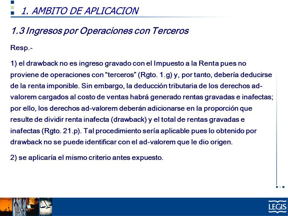 1.3 Ingresos por Operaciones con Terceros Resp.- 1) el drawback no es ingreso gravado con el Impuesto a la Renta pues no proviene de operaciones con t