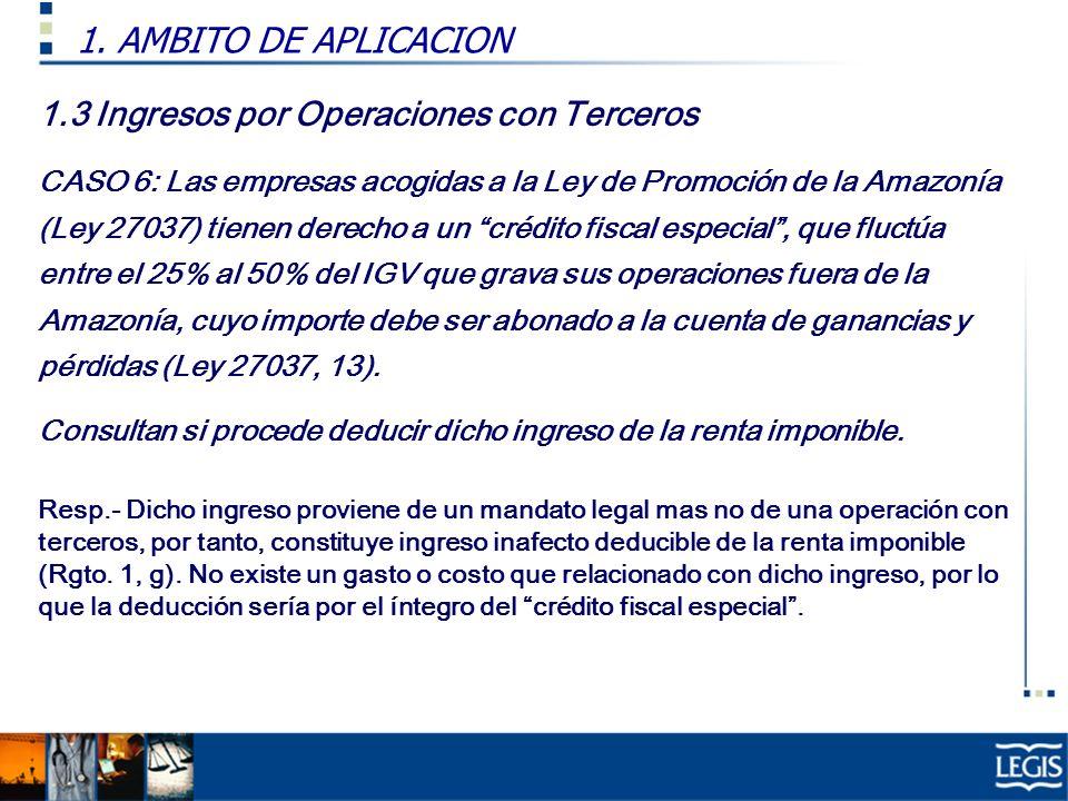 1.3 Ingresos por Operaciones con Terceros CASO 6: Las empresas acogidas a la Ley de Promoción de la Amazonía (Ley 27037) tienen derecho a un crédito f