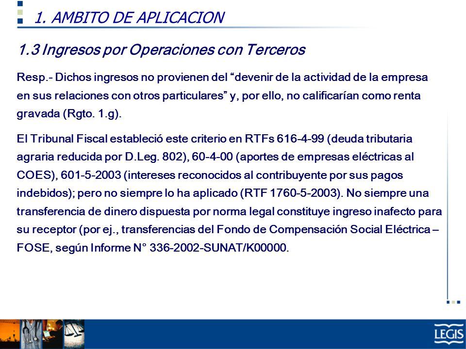 1.3 Ingresos por Operaciones con Terceros Resp.- Dichos ingresos no provienen del devenir de la actividad de la empresa en sus relaciones con otros pa