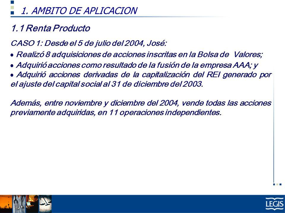 1.1 Renta Producto CASO 1: Desde el 5 de julio del 2004, José: Realizó 8 adquisiciones de acciones inscritas en la Bolsa de Valores; Adquirió acciones