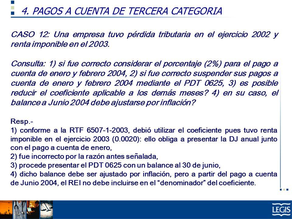 CASO 12: Una empresa tuvo pérdida tributaria en el ejercicio 2002 y renta imponible en el 2003. Consulta: 1) si fue correcto considerar el porcentaje
