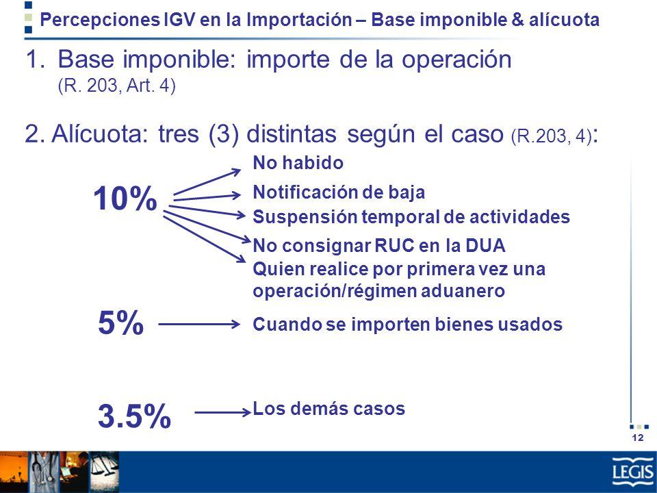 12 Percepciones IGV en la Importación – Base imponible & alícuota 1.Base imponible: importe de la operación (R. 203, Art. 4) 2. Alícuota: tres (3) dis