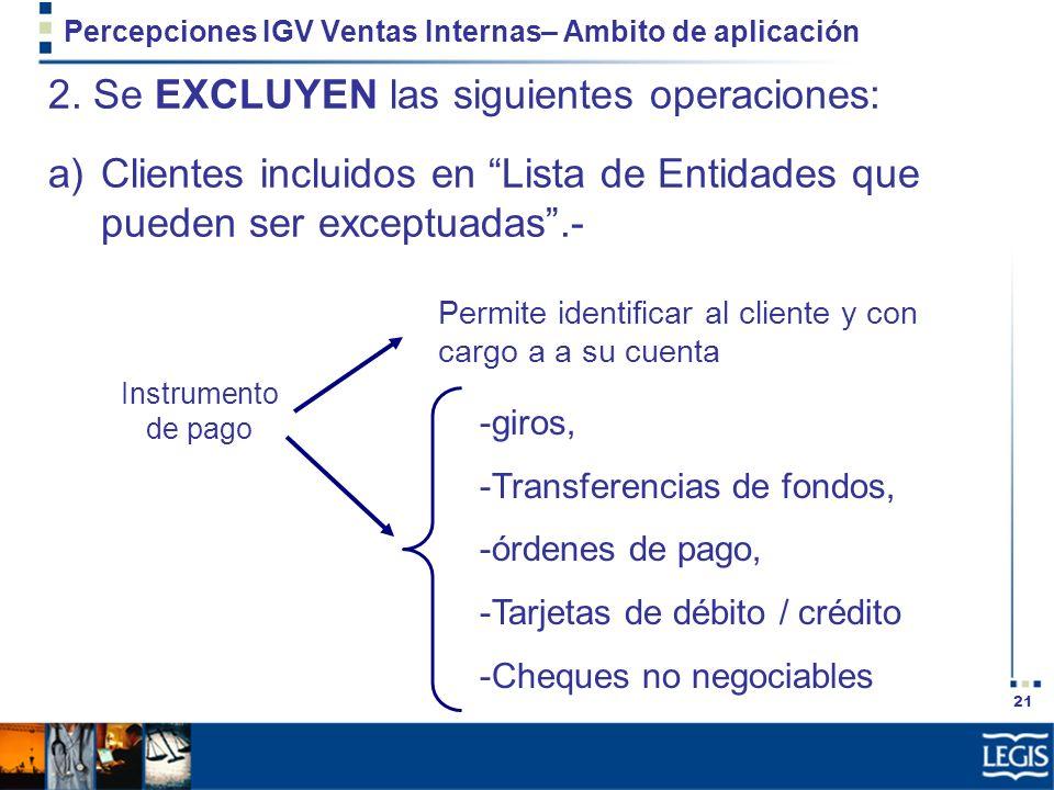 21 Percepciones IGV Ventas Internas– Ambito de aplicación 2. Se EXCLUYEN las siguientes operaciones: a)Clientes incluidos en Lista de Entidades que pu