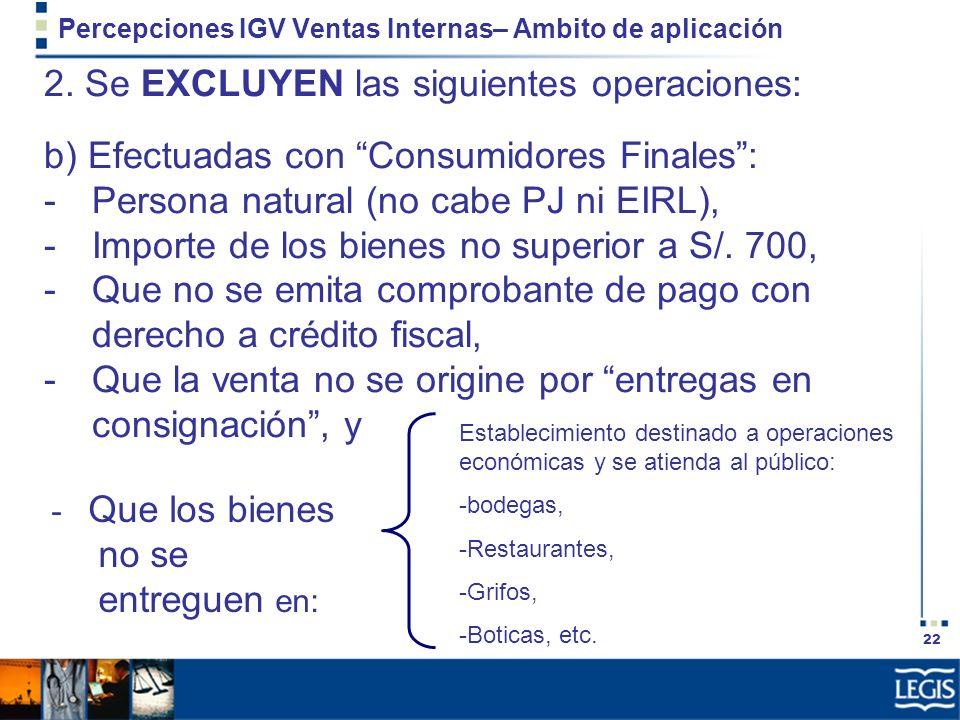 22 Percepciones IGV Ventas Internas– Ambito de aplicación 2. Se EXCLUYEN las siguientes operaciones: b) Efectuadas con Consumidores Finales: -Persona