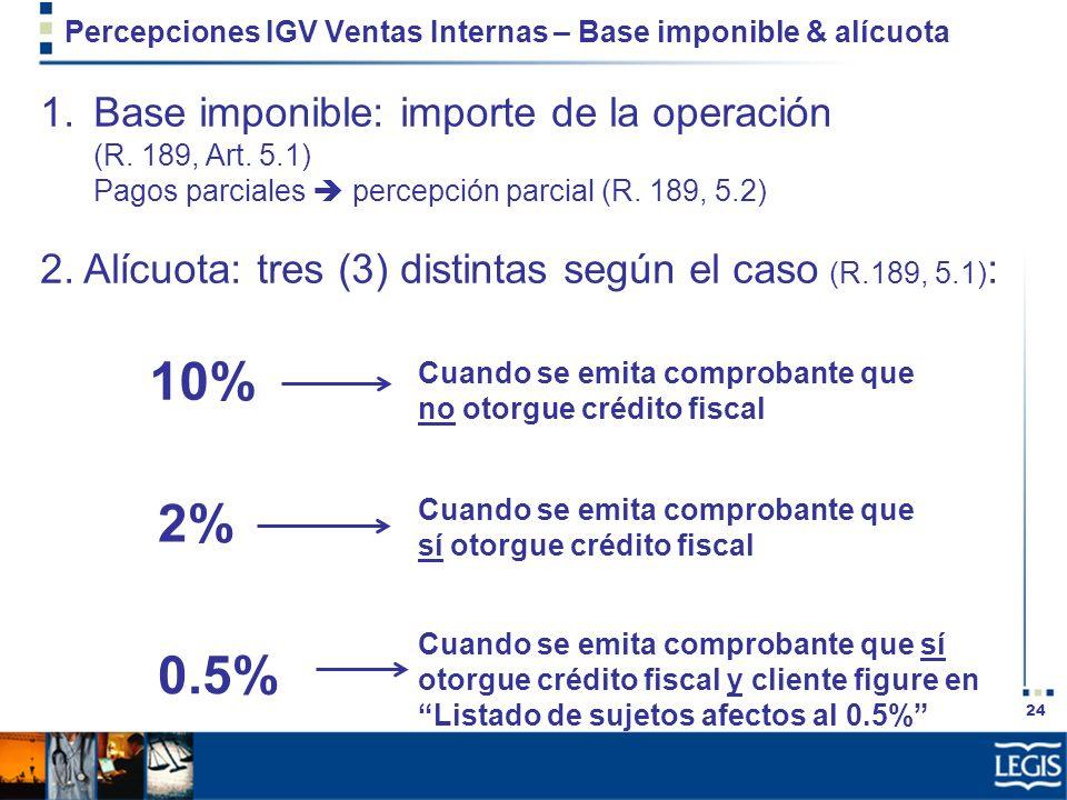 24 Percepciones IGV Ventas Internas – Base imponible & alícuota 1.Base imponible: importe de la operación (R. 189, Art. 5.1) Pagos parciales percepció