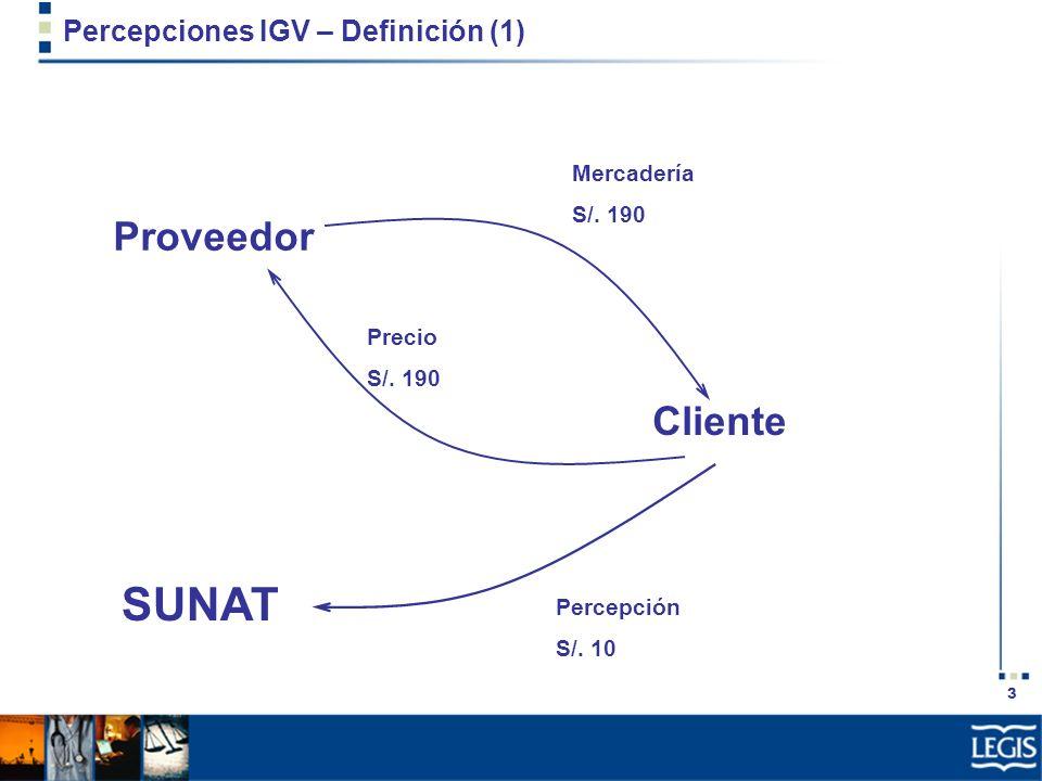 3 Percepciones IGV – Definición (1) Proveedor Cliente Mercadería S/. 190 Precio S/. 190 SUNAT Percepción S/. 10
