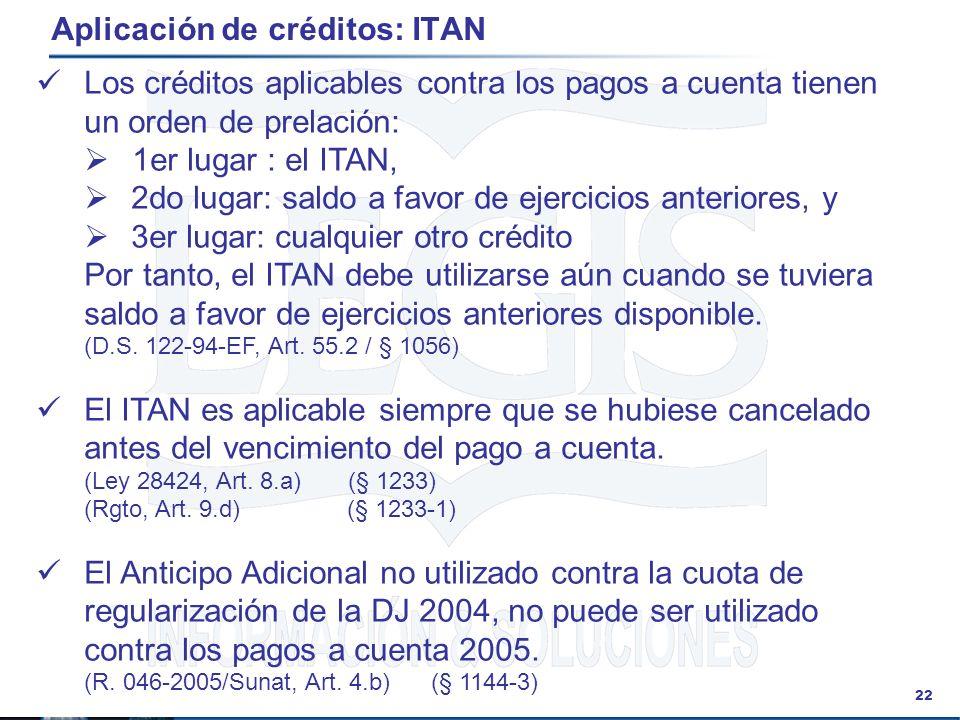 22 Aplicación de créditos: ITAN Los créditos aplicables contra los pagos a cuenta tienen un orden de prelación: 1er lugar : el ITAN, 2do lugar: saldo