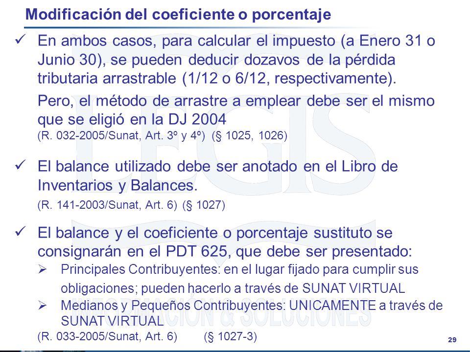 29 Modificación del coeficiente o porcentaje En ambos casos, para calcular el impuesto (a Enero 31 o Junio 30), se pueden deducir dozavos de la pérdid