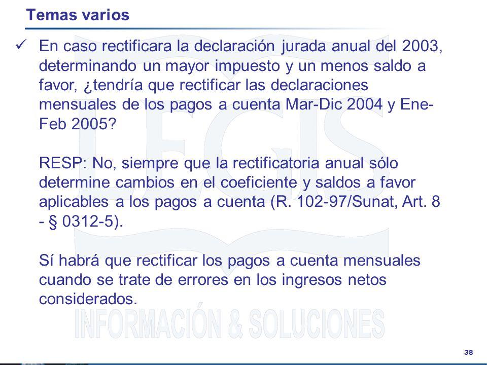 38 Temas varios En caso rectificara la declaración jurada anual del 2003, determinando un mayor impuesto y un menos saldo a favor, ¿tendría que rectif