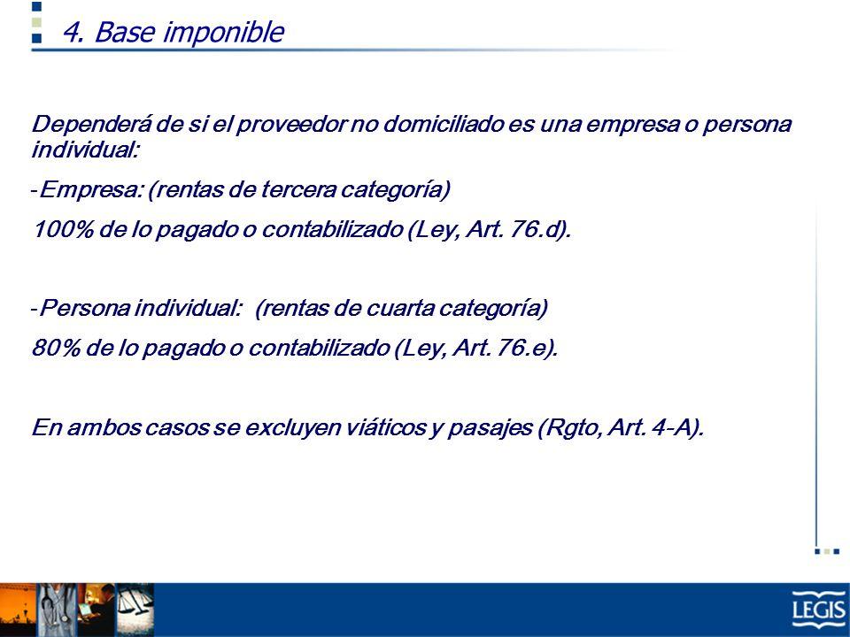 Dependerá de si el proveedor no domiciliado es una empresa o persona individual: -Empresa: (rentas de tercera categoría) 100% de lo pagado o contabili