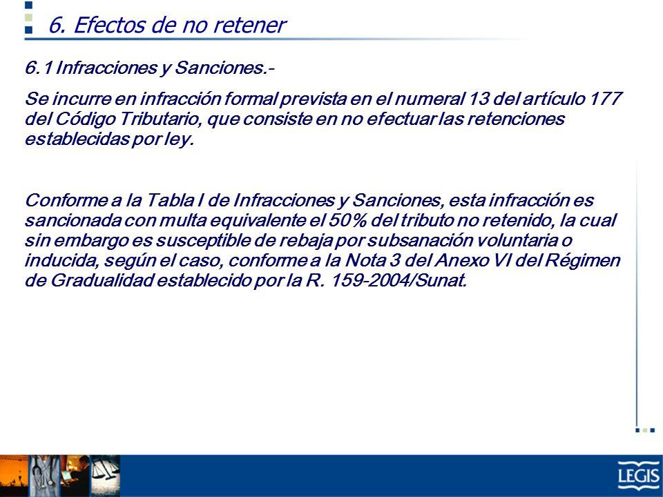 6.1 Infracciones y Sanciones.- Se incurre en infracción formal prevista en el numeral 13 del artículo 177 del Código Tributario, que consiste en no ef